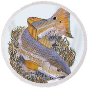Tailing Redfish Round Beach Towel by Carey Chen