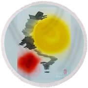 Round Beach Towel featuring the painting Taiyo O Ukeire by Roberto Prusso