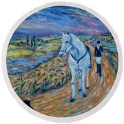 Round Beach Towel featuring the painting Take Me Home My Friend by Xueling Zou