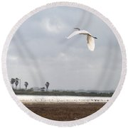 Round Beach Towel featuring the photograph Take Off by Erika Weber