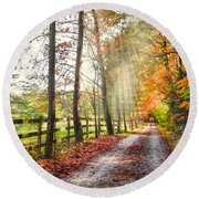 Take The Back Roads Round Beach Towel