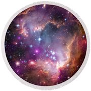 Round Beach Towel featuring the  Taken Under The Wing Of The Small Magellanic Cloud by Paul Fearn