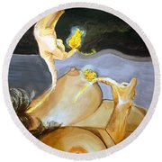 Round Beach Towel featuring the painting Takeoff The Touch Despegue Del Tacto by Lazaro Hurtado