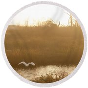 Round Beach Towel featuring the photograph Taking Off Into A Golden Sunrise by Carol Lynn Coronios