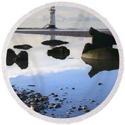 Talacer Abandoned Lighthouse Round Beach Towel