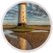 Talacre Lighthouse Sunset Round Beach Towel