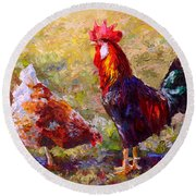 Rooster And Hen Farm Art Chicken Painting  Round Beach Towel