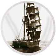 Round Beach Towel featuring the photograph Tall Ship Germania Out Of San Francisco California  Circa 1900 by California Views Mr Pat Hathaway Archives
