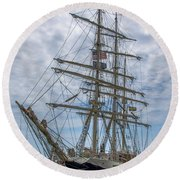 Round Beach Towel featuring the photograph Tall Ship Gunilla Vertical by Dale Powell