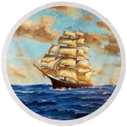 Tall Ship On The South Sea Round Beach Towel by Lee Piper