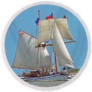 Round Beach Towel featuring the photograph Tall Ship Pathfinder by Rodney Campbell
