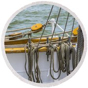 Round Beach Towel featuring the photograph Tall Ship Rigging by Dale Powell