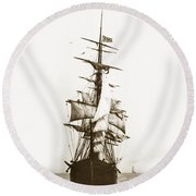 Round Beach Towel featuring the photograph Tall Ship Sailing Out Of San Francisco California Circa 1900 by California Views Mr Pat Hathaway Archives