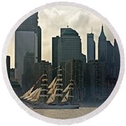 Tall Ship Sailing Past The New York Skyline Round Beach Towel