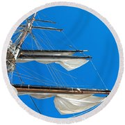 Tall Ship Yards Round Beach Towel
