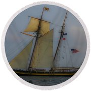 Tall Ships In The Lowcountry Round Beach Towel by Dale Powell