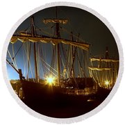Tall Ships Round Beach Towel