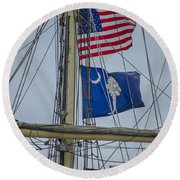 Round Beach Towel featuring the photograph Tall Ships Flags by Dale Powell