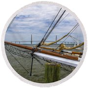 Round Beach Towel featuring the photograph Tall Ships In Charleston by Dale Powell