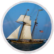 Tall Ships Over Charleston Round Beach Towel by Dale Powell