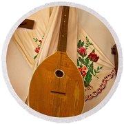 Tamburica Croatian Traditional Music Instrument Round Beach Towel