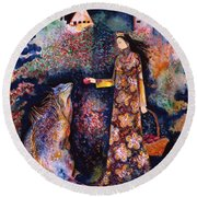 Taming Of The Dragon Round Beach Towel