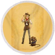 Tammy And Alfred Round Beach Towel