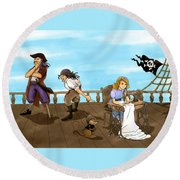 Tammy And The Pirates Round Beach Towel