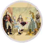 Tammy Meets Betsy Ross And George Washington Round Beach Towel by Reynold Jay
