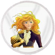 Tammy Wurtherington 1883 Portrait  Round Beach Towel by Reynold Jay