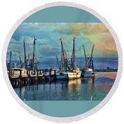 Tampa Bay Fishing Boats Round Beach Towel