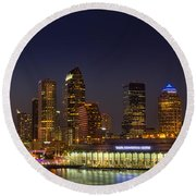 Tampa Lights At Dusk Round Beach Towel