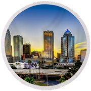 Tampa Skyline Round Beach Towel