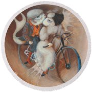Round Beach Towel featuring the painting Tandem by Marina Gnetetsky