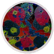 Round Beach Towel featuring the painting Tangent by Jacqueline McReynolds