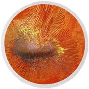 Tangerine Burst Round Beach Towel by Leanna Lomanski