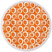 Tangerine Loop Round Beach Towel by Linda Woods