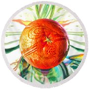 Round Beach Towel featuring the painting Tangerine Orb Nouveau by Robin Moline