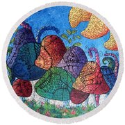 Tangled Mushrooms Round Beach Towel