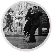 Tango Dancers In Buenos Aires Round Beach Towel by Venetia Featherstone-Witty