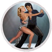 Tango - The Passion Round Beach Towel by Glenn Holbrook