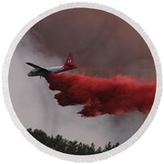 Round Beach Towel featuring the photograph Tanker 07 Drops On The Myrtle Fire by Bill Gabbert