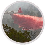 Round Beach Towel featuring the photograph Tanker 07 On Whoopup Fire by Bill Gabbert