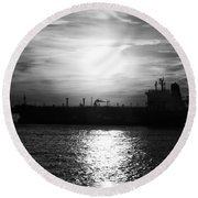 Tanker Twilight Round Beach Towel