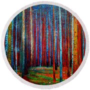 Round Beach Towel featuring the painting Tannenwald by Celestial Images