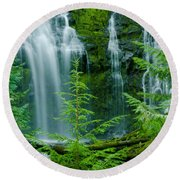 Pacific Northwest Waterfall Round Beach Towel