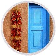 Taos Blue Door Round Beach Towel