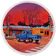 Taos Blue Truck At Dusk Round Beach Towel by Art West