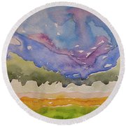 Round Beach Towel featuring the painting Taos Fields by Beverley Harper Tinsley