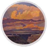Taos Gorge - Pastel Sky Round Beach Towel